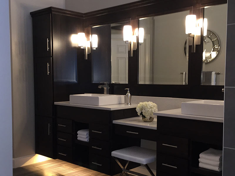 London Gray Quartz bathroom counter with double vessel sinks.