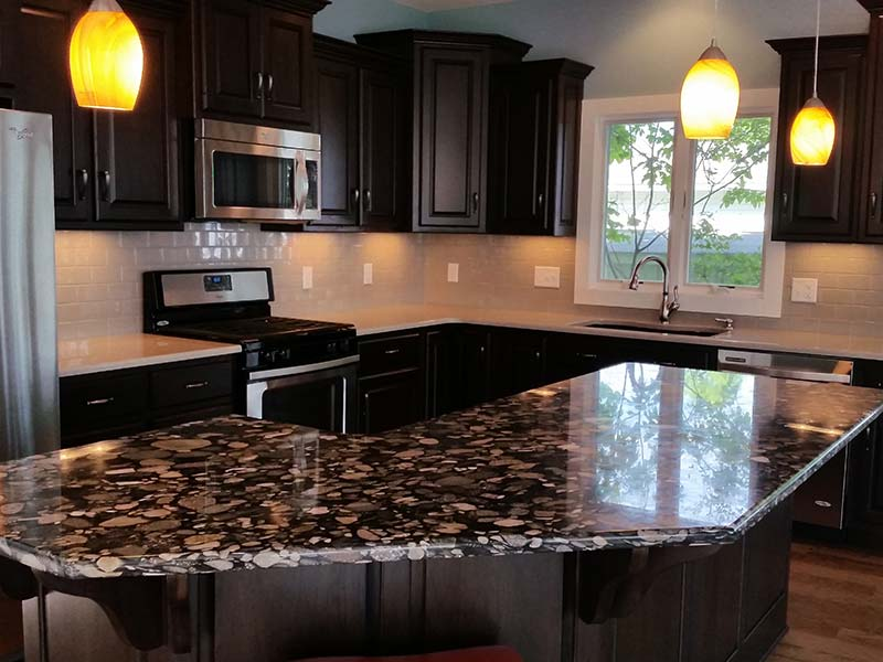 kitchen center island with granite top granite projects classic marble amp hoagland indiana 9188